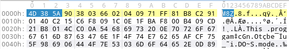 detect aPLib compression by searching for M8Z in ascii.
