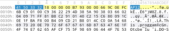 aPLib compressed PE exectuable: 24 bytes header (magic highlighted), followed by compressed payload