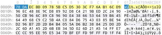 zlib compression of PE file with best compression level 9