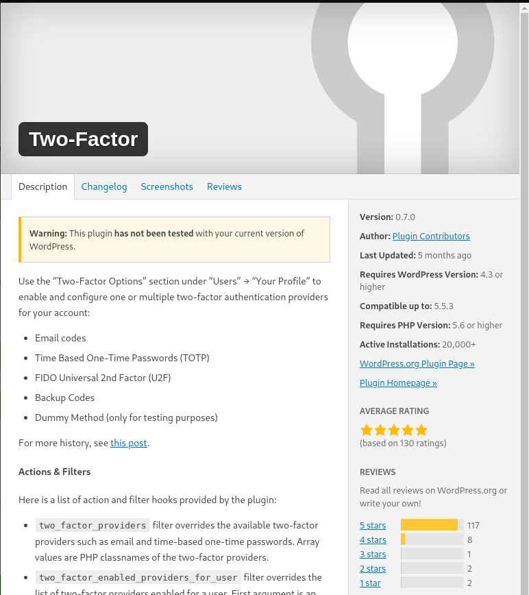 Two-Factor lets you setup two factor authen