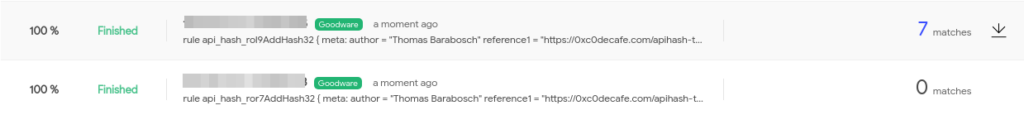VirusTotal Retrohunt on Goodware corpus with top100_apis_malpedia.yar